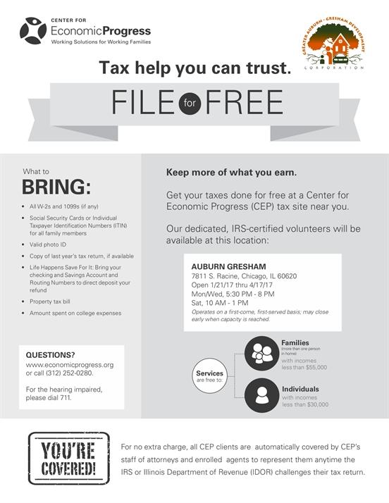 Auburn Gresham Free Tax Site Starts January 21, 2017!