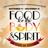 20th Annual Food for the Body & Spirit Veteran's Day kick-off events!