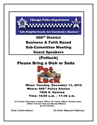 006th District Business and Faith Based Subcommittee Joint Meeting Pot Luck!