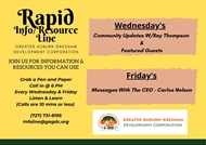 Rapid Info and Resource Line (Dial in 727-731-8195) Friday's special Healthy Hub Project Updates!