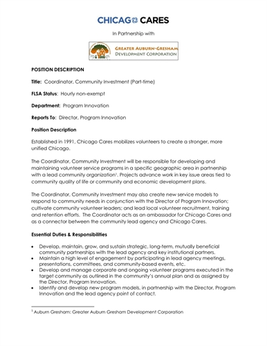 Coordinator, Community Investment (Part-Time) Position Available
