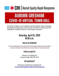 Auburn Gresham COVID-19 Community VIRTUAL TOWN HALL 4/25th, 10:30am!