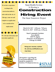 Sinai Health System Is Hosting a Construction Hiring Event