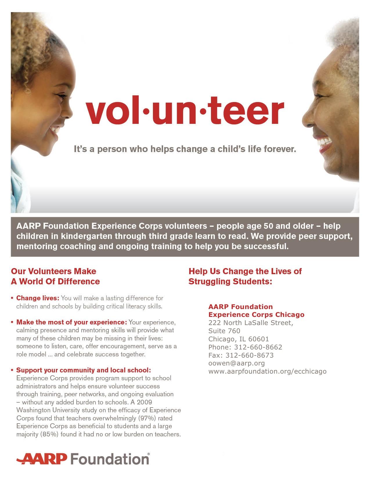 aarp foundation experience corps volunteer information session auburn gresham portal. Black Bedroom Furniture Sets. Home Design Ideas