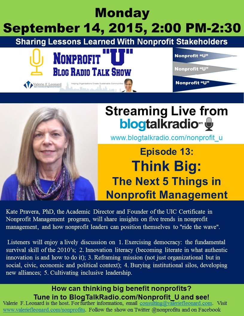 Think big uics kate pravera discusses the next 5 things in keywords certificate in nonprofit management community development kate pravera nonprofit u nonprofit management nonprofit podcasts 1betcityfo Gallery